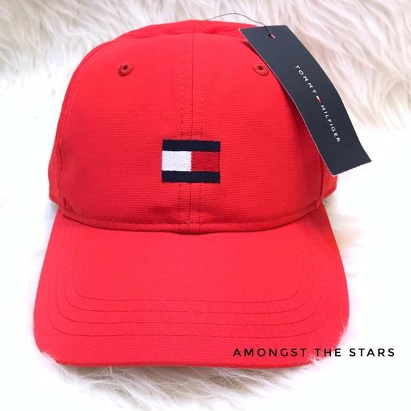 d8623312a Tommy Hilfiger Red Flag Logo Strapback Hat Cap NWT